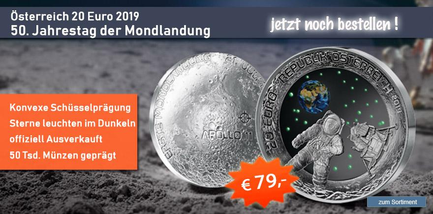 20 Euro Mondlandung 2019 Oesterreich