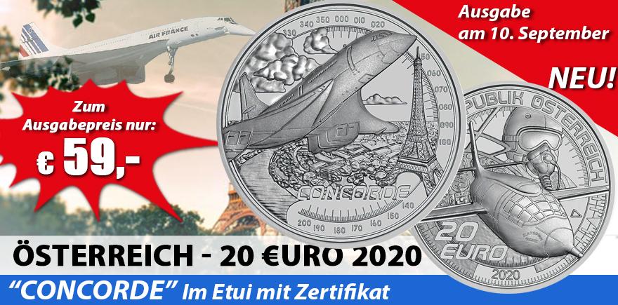Österreich 20 Euro 2020 Schneller als der Schall - Concorde