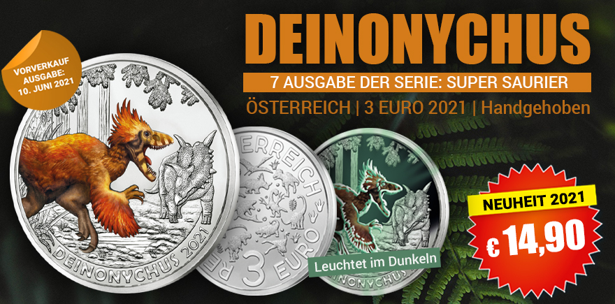 3-Euro Münze Dino Saurier Münze | Historia-Hamburg.de