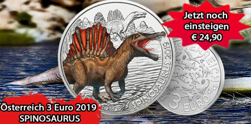 Österreich 3 Euro 2019 Dino-Taler Supersaurier Spinosaurus