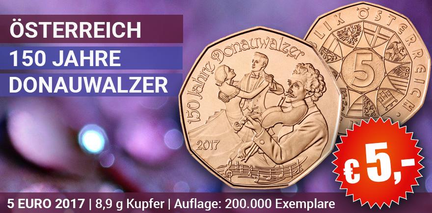 oesterreich 5 euro 2017 donauwalzer zum nennwert