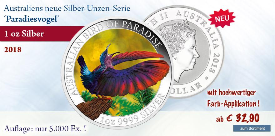 Silber muenze aus Australien Paradisvogel Pangäa Serie 2018
