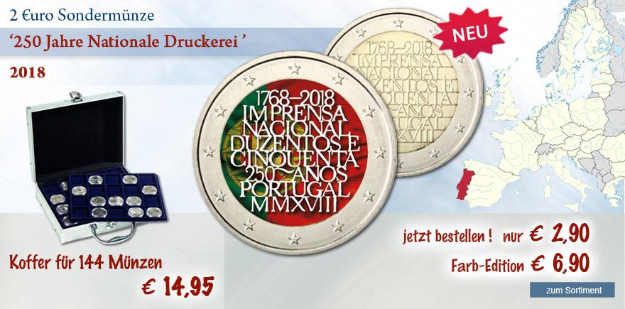 Euro Sondermünzen aus Portugal 2018 Druckerei