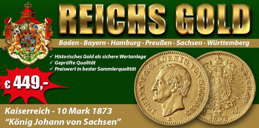 Kaiserreich 10 Mark 1872-1873 König Johann von Sachsen J.257