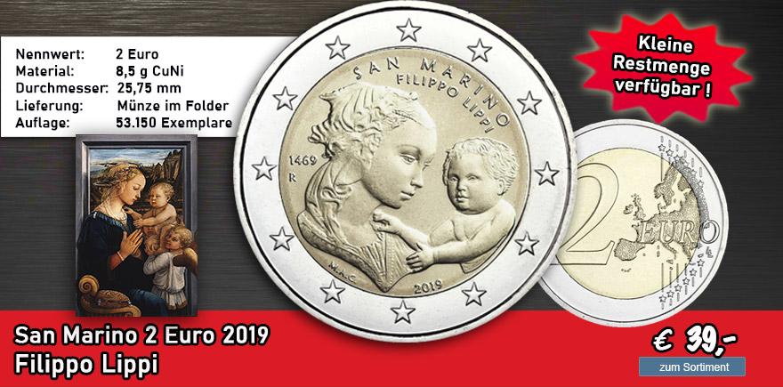 San Marino 2 Euro 2019 Filippo Lippi