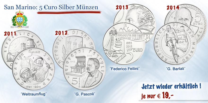 San Marino 5 € Silber-Muenzen