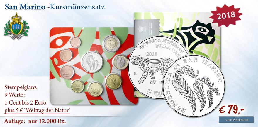 KMS San Marino 1 Cent bis 5 Euro im Folder Silber bestellen Zubehör kaufen
