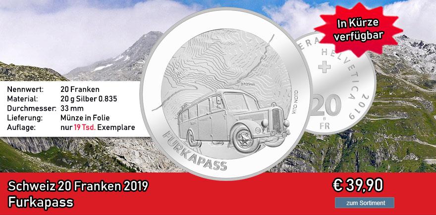 Schweiz 20 Franken 2019 Furkapass Silbermünze