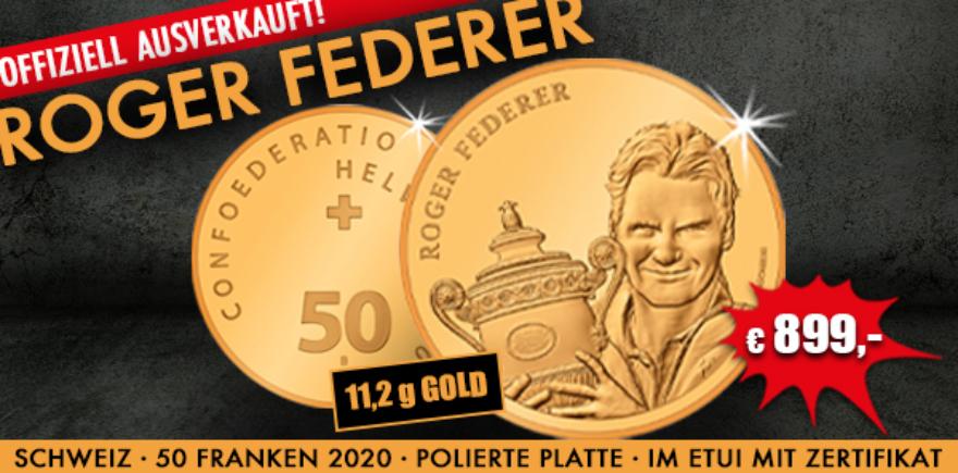 Schweiz 50 Franken 2021 Gold Roger Federer Goldmünze