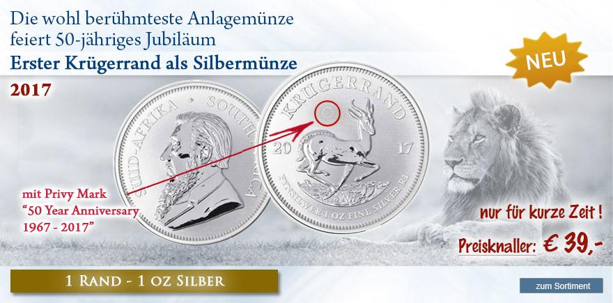 1 oz Silbermünze Kruegerrand jetzt günstig