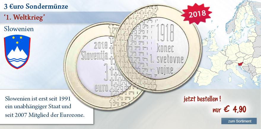 3 Euro Sondermünze aus Slowenien 1. Weltkrieg