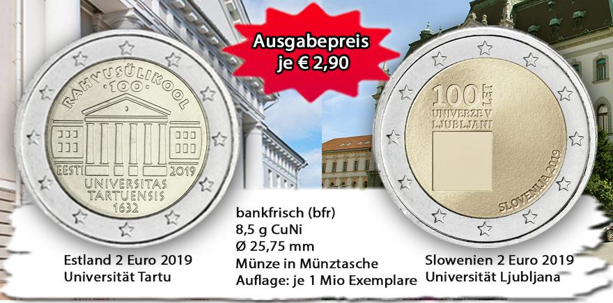 2 Euro, Gedenkmünzen, Euro-Münzen, 2019