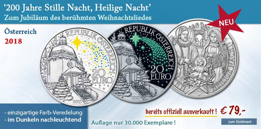 Silber Münze Österreich Stille Nacht Heilige Nacht