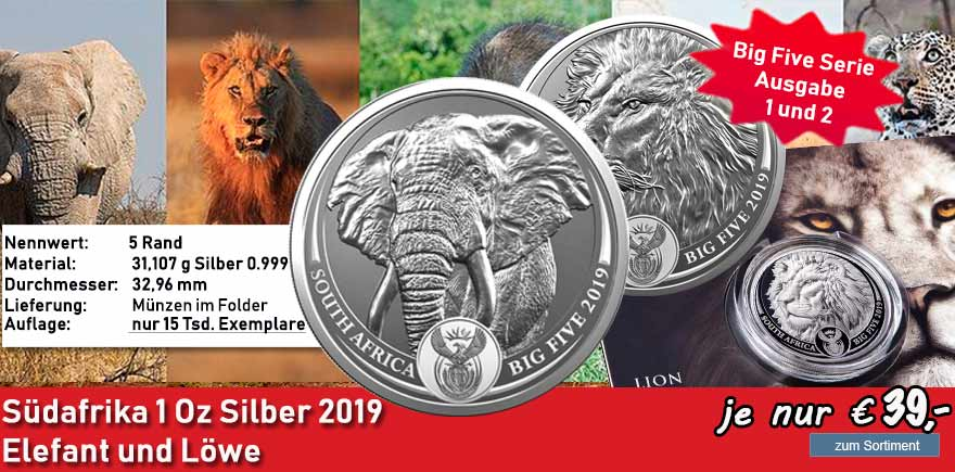 Südafrika 5 Rand 2019 Big Five Löwe Elefant