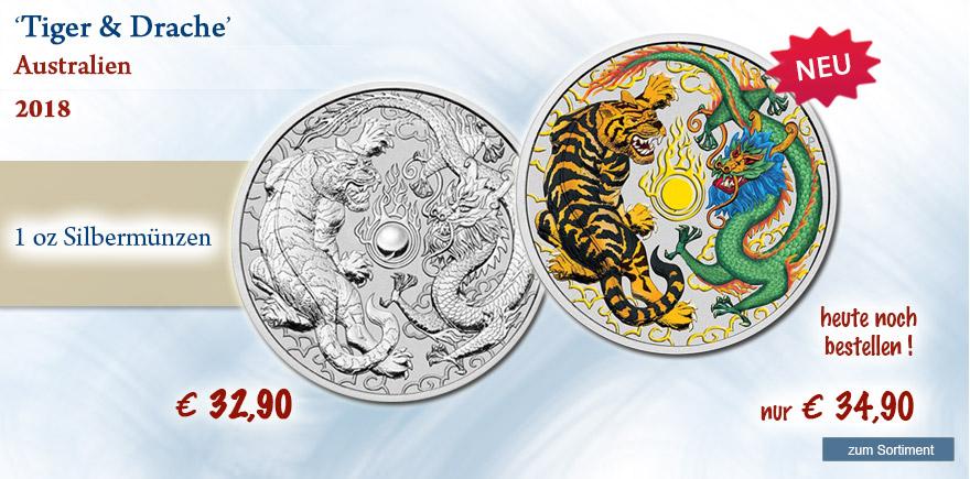 Silbermünzen aus Australien Drache und Tiger