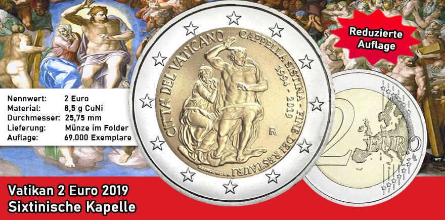 Vatikan 2 Euro 2019 Sixtinische Kapelle