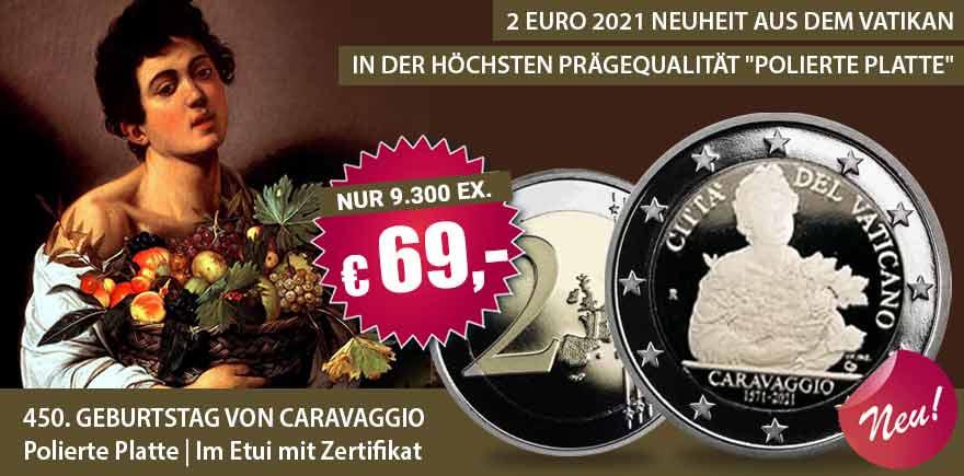 2-Euro Gedenkmünze Caravaggio Vatikan | Historia-hamburg