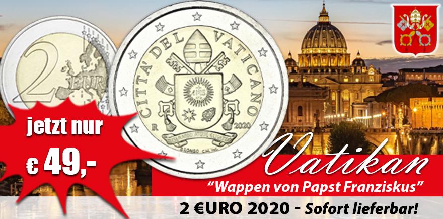 Vatikan 2 Euro 2020 Papstwappen von Papst Franziskus