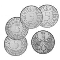 BRD 4 x 5 DM Kursmünze 1969 D - F - G - J Heiermann Silber-Fünfer