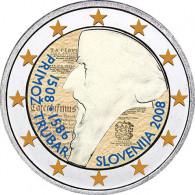 Gedenkmünzen 2 Euro 2008 Slowenien Primoz Trubar in Farbe
