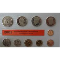 BRD 12,68 DM Kursmünzensatz 2001 Stgl. 1 Pfennig bis 5 D-Mark Mzz. D