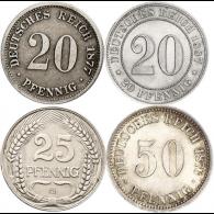 Kaiserreich-20-Pfennig---50-Pfennig-Jäger-5,-6,-7-und-18-Preishit