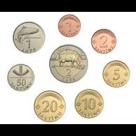 Lettland-1-Santims---2-Lati-Kursmünzen-gemischte-Jahre-1
