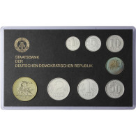 DDR Mini Jahressatz 1986  7 Münzen 1 Pfg. bis 2 Mark und eine Medaille: Schmelzen