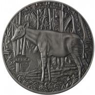 Okapi Silbermünze Antique Finish Congo 2015