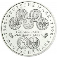 Deutschland 10 DM Silber 1998 Stgl. 50 Jahre Deutsche Mark