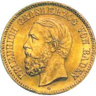 J.185 -  Baden  5 Mark 1877  Friedrich I. Gold