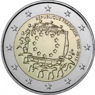 Europa Flagge 2 Euro Muenzen Frankreich