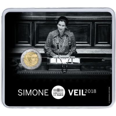 2 Euro Gedenkmünze 2018 Simone Veil aus Frankreich in Coincard  Münzkatalog bestellen