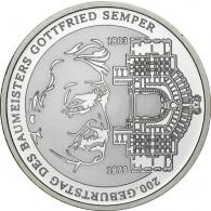 Gedenkmünze 10 Euro 2003 PP Gottfried von  Semper