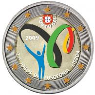 Portugal 2 Euro Münzen 2009 2. Spiele der Lusophonie in Farbe