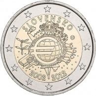 Sammlermünze 2 Euro Gedenkmünzen 2 Euro Sondermünzen 2 Euro Münzen Slowakei 2 Euro 2012 bfr. 10 Jahre Euro- Bargeld