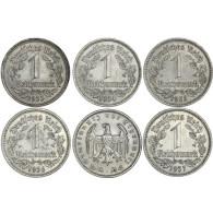 III. Reich 5-Münzen-Satz 1 Reichsmark mit 5 Jahrgängen Mzz. Historia Wahl