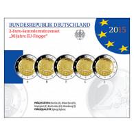 Deutschland 5 x 2 Euro 2015 PP 30 Jahre Europa-Flagge im Folder der VfS
