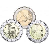 2 Euro Kursmünzen Raritäten aus San Marino Regierungspalst  und Monaco  Fürst Rainer III