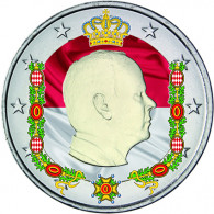 Farb-Muenze Monaco 2 Euro 2014 Albert II Fürst