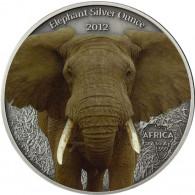 Silbermünze Gabun Elefanten in Farbe Silberunze 2012