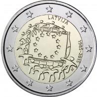 EU Flagge 2 Euro Münzen Lettland Gemeinschaftsausgabe