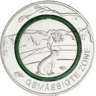 Neue 5 Euro Münze 2019  Gemäßigte Zone Polymering Grün Feldhase