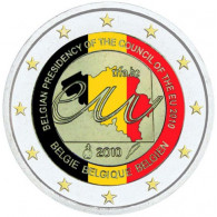 Belgien 2 Euro-Gedenkmünzen 2010  EU-Ratspräsidentschaft in Farbe