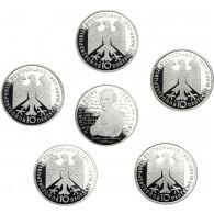 Deutschland 10 DM Silber 1997 PP Heinrich Heine Mzz. komplett A bis J