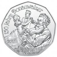 Münze Oesterreich 5 Euro Silber 2017 150 Jahre Donauwalzer  im Folder Neujahrsmuenze