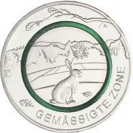 Neue 5 Euro Sondermünze 2019  Gemäßigte Zone Polymering Grün Feldhase