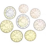 Estland 2018 Kursmünzen 1 Cent bis 2 Euro bfr. lose in Münzstreifen