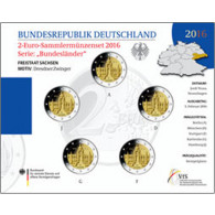 Deutschland 5 x 2 Euro 2016 Stgl. Dresdner Zwinger  im Folder der VfS