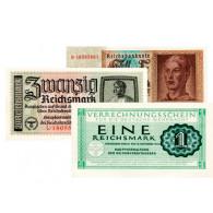 Banknoten - 3 Banknoten 1 ,2 und 5 Reichsmark kassenfrisch